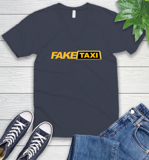 Fake taxi V-Neck T-Shirt 9