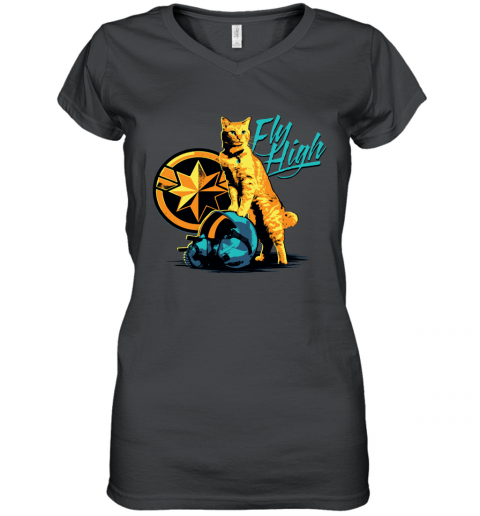 Captain Marvel Flying V Ladies Black T-Shirt