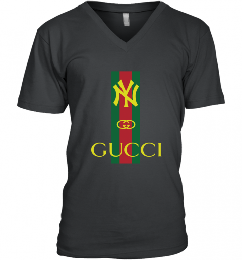 Gucci Logo New York Yankees V-Neck T-Shirt