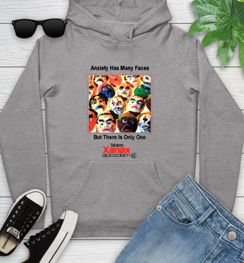 Anxiety Has Many Faces Xanax Promotional Shirt Youth Hoodie 4