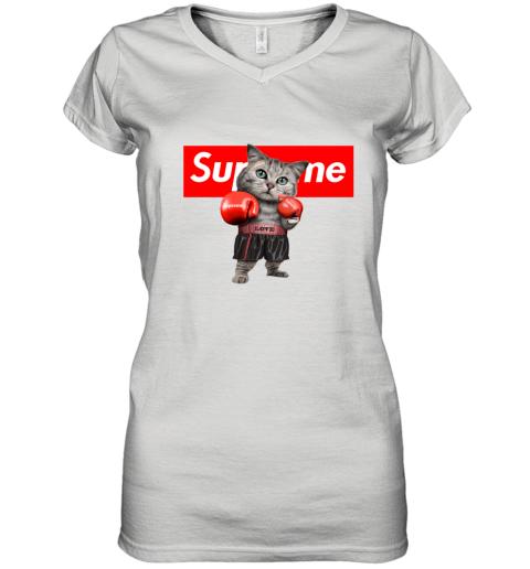 SUPREME BOXING CAT FUNNY Women's V-Neck T-Shirt