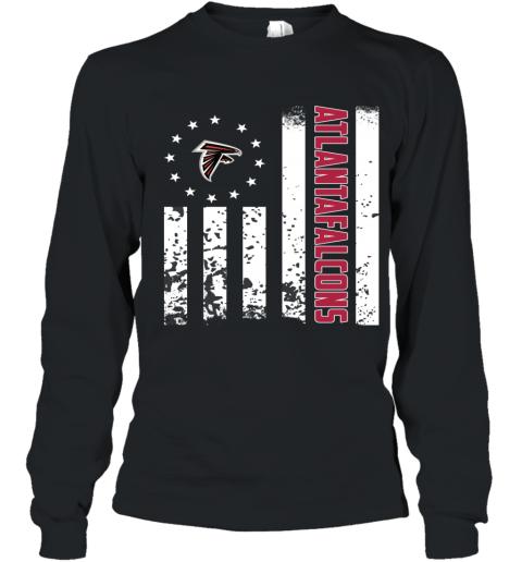 innovative design 87d95 4b84e NFL Atlanta Falcons Logo American Flag Youth Long Sleeve T-Shirt