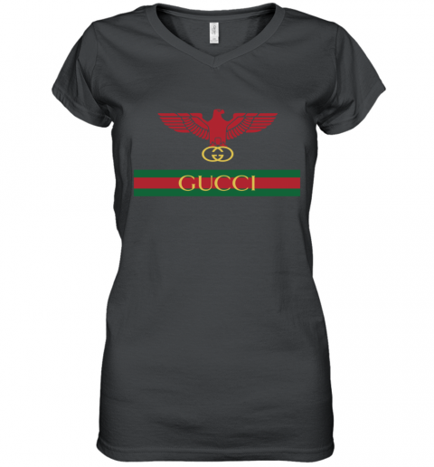 Gucci Menswear Logo Eagle Fire Women's V-Neck T-Shirt