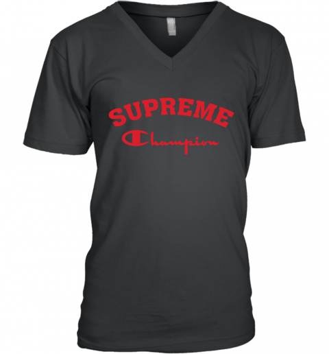 Supreme Logo x Champion Logo Red Unisex V-Neck T-Shirt