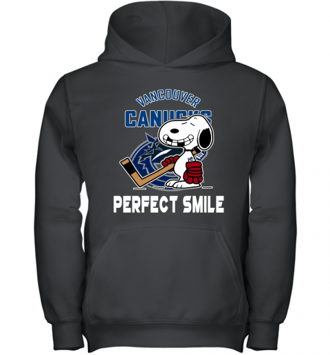 NHL Vancouver Canucks Snoopy Perfect Smile The Peanuts Movie Hockey T Shirt Youth Hoodie