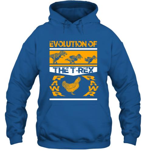Funny Dinosaur Gift Evolution Of The T Rex Rawr Chicken Hoodie