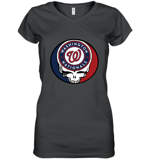 Washington Nationals Grateful Dead Baseball Steal Your Face MLB Women's V-Neck T-Shirt