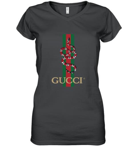 Gucci Logo Snake Polo Women's V-Neck T-Shirt