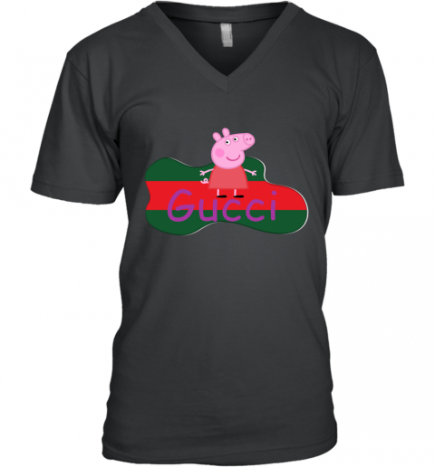 Peppa Pig Gucci Shirt Design V-Neck T-Shirt
