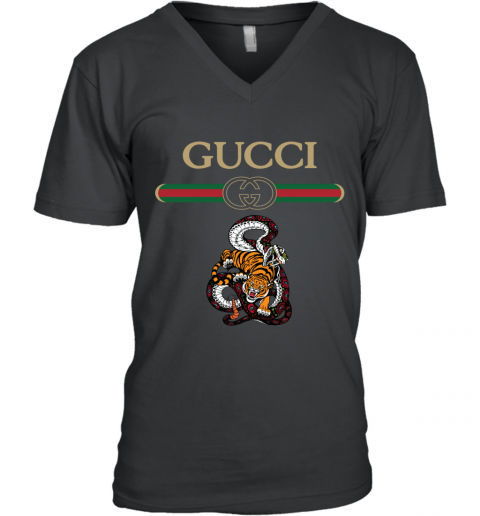 2020 Gucci Logo Fighting Snake Vs Tiger V-Neck T-Shirt