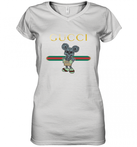 Gucci Skeleton Mickey Mouse Women's V-Neck T-Shirt
