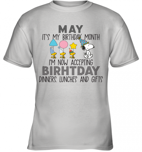 Snoopy MAY It's My Birthday Month Youth T-Shirt