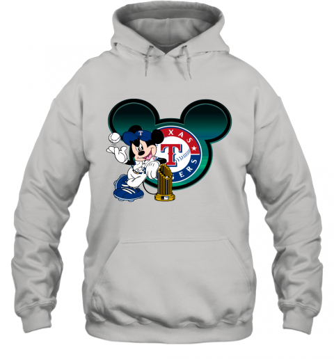 MLB Texas Rangers The Commissioner's Trophy Mickey Mouse Disney Baseball T Shirt Hoodie