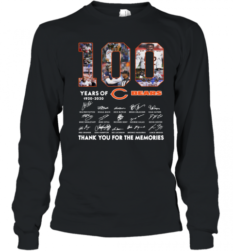 100 Years of Chicago Bears NFL Thank Memories Signatures Youth Long Sleeve T-Shirt