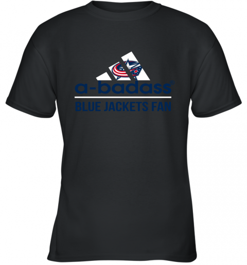 NHL A Badass Columbus Blue Jackets Fan Adidas Hockey Sports Youth T-Shirt