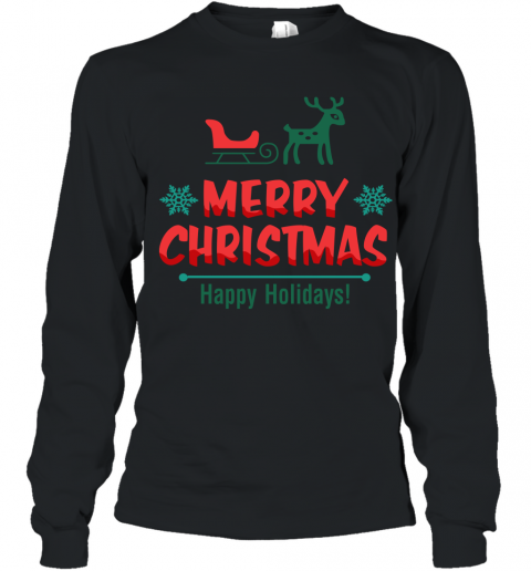 Cute Reindeer Merry Christmas Happy Holiday Youth Long Sleeve T-Shirt