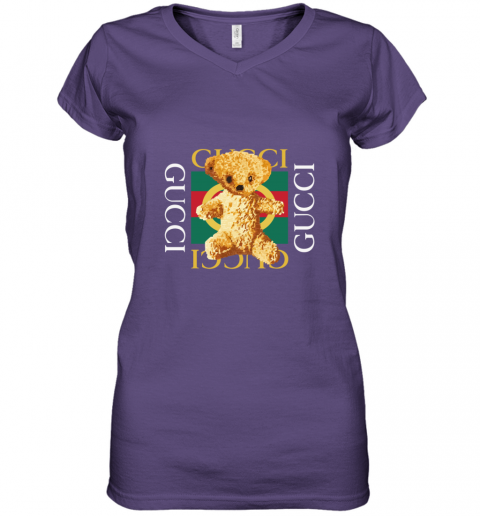 Gucci Logo and Teddy Bear Women's V-Neck T-Shirt
