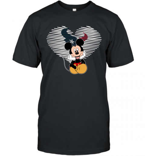 NFL Houston Texans The Heart Mickey Mouse Disney Football T Shirt T-Shirt