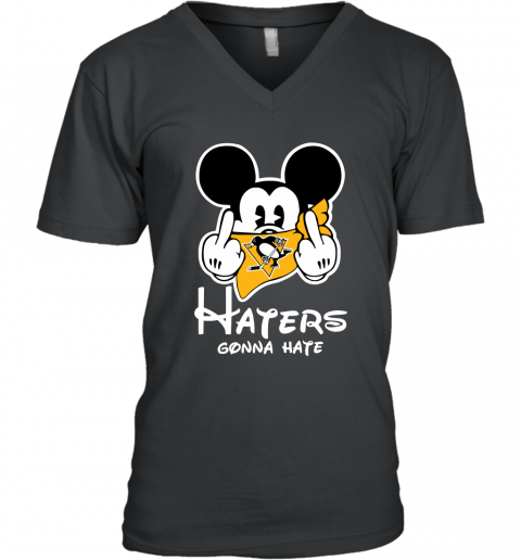 NHL Pittsburgh Penguins Haters Gonna Hate Mickey Mouse Disney Hockey T Shirt V-Neck T-Shirt