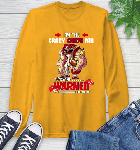 Kansas City Chiefs NFL Football Mario I'm The Crazy Fan Everyone Warned You About Long Sleeve T-Shirt 2
