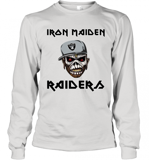 NFL Oakland Raiders Iron Maiden Rock Band Music Football Sports Long Sleeve T-Shirt
