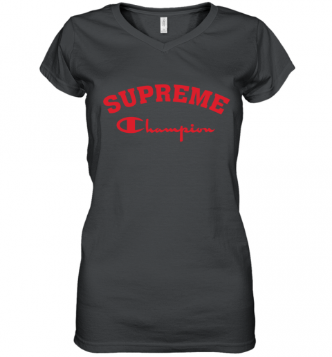 Supreme Logo x Champion Logo Red Unisex Women's V-Neck T-Shirt