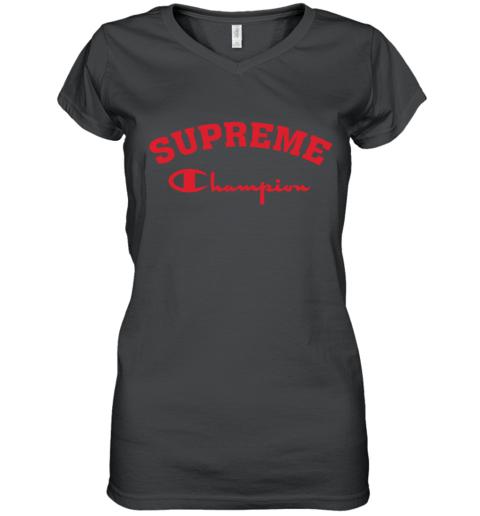 Supreme Logo x Champion Logo Red Unisex Women's V-Neck T-Shirt