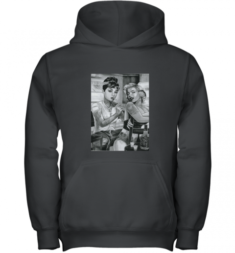 marilyn monroe and audrey hepburn tattoo Youth Hoodie