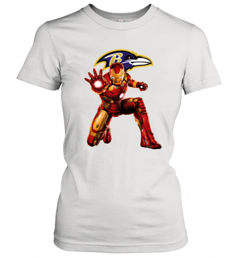 NFL Iron Man Marvel Avengers Endgame Football Sports Baltimore Ravens Women's T-Shirt