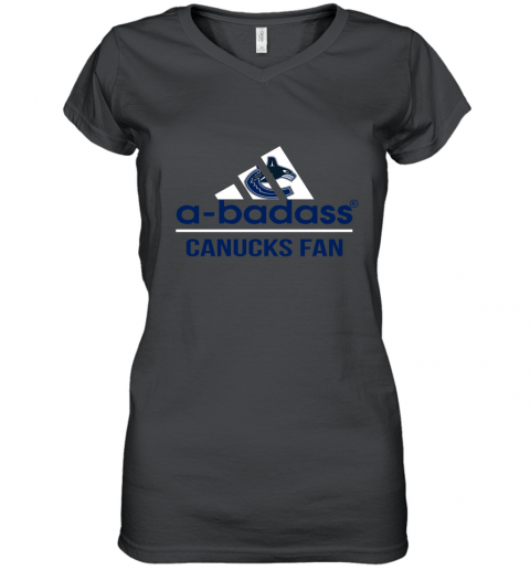 NHL A Badass Vancouver Canucks Fan Adidas Hockey Sports Women's V-Neck T-Shirt