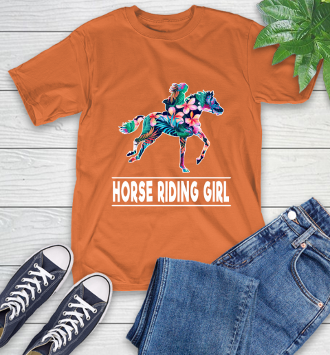 I'm A Horse Riding Girl Love Flowers And Never Give Up T-Shirt 4