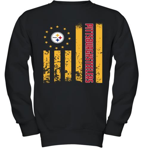 online retailer 7f2dc 4549b NFL Pittsburgh Steelers Logo American Flag Youth Sweatshirt