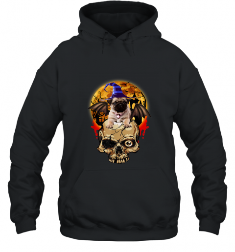 Skull With Pug Awesome Shirt For Halloween 2019 Hoodie