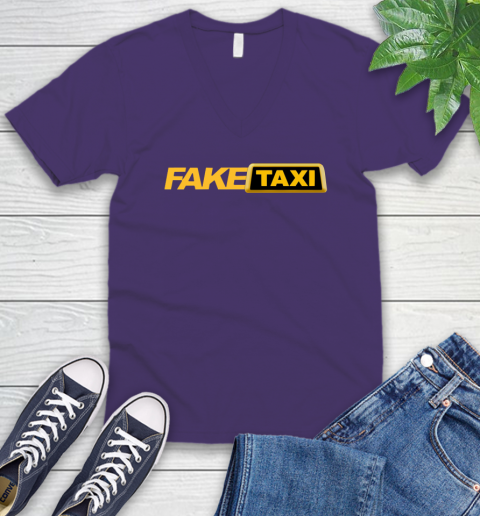 Fake taxi V-Neck T-Shirt 10
