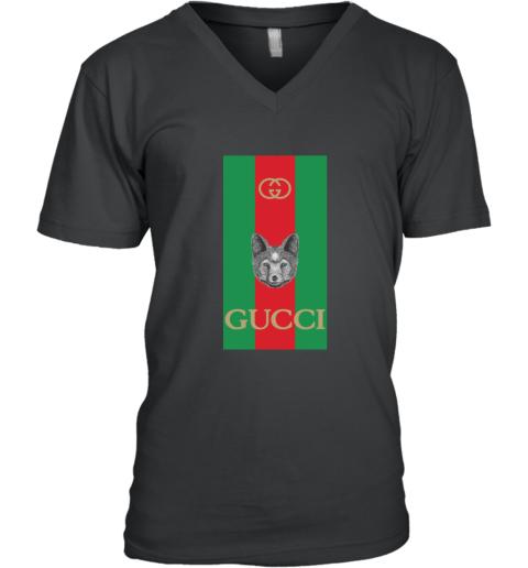 Gucci Logo Wolf V-Neck T-Shirt