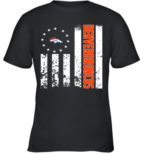 1605bc42 NFL Denver Broncos Logo American Flag Youth T-Shirt