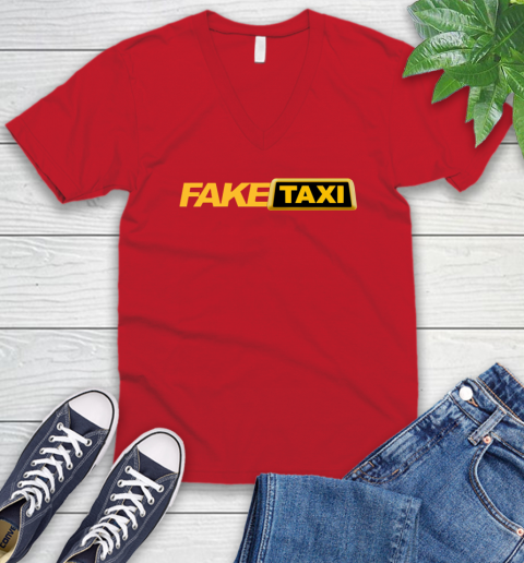 Fake taxi V-Neck T-Shirt 7