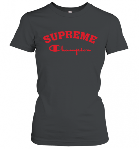 Supreme Logo x Champion Logo Red Unisex Women's T-Shirt