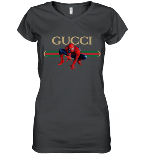 Gucci Logo Spiderman Women's V-Neck T-Shirt