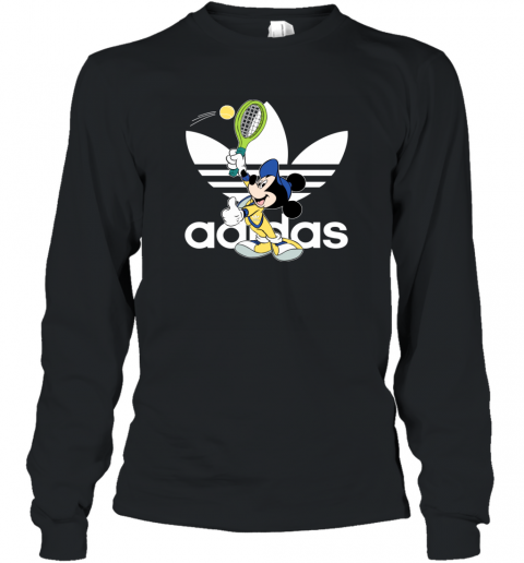 Adidas Logo Mickey Mouse Tennis Sports Long Sleeve T-Shirt