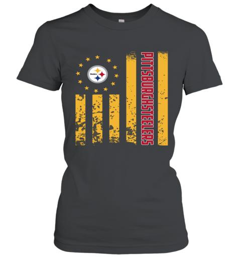 44d6faf2 NFL Pittsburgh Steelers Logo American Flag Women's T-Shirt