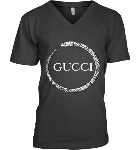 Gucci Ouroboros Print V-Neck T-Shirt