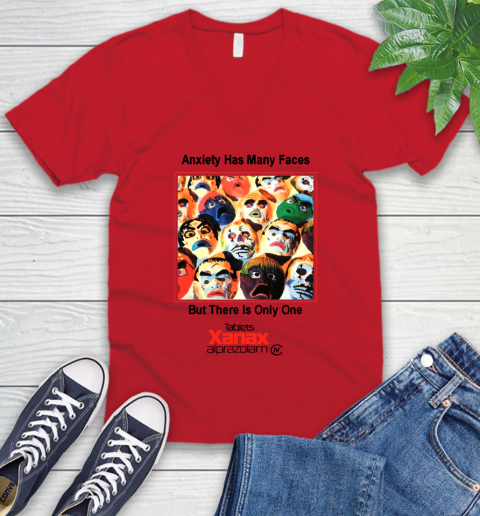 Anxiety Has Many Faces Xanax Promotional Shirt V-Neck T-Shirt 4