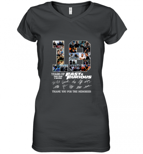 18 Years of Fast and Furious Thank You For The Memories Signature Women's V-Neck T-Shirt