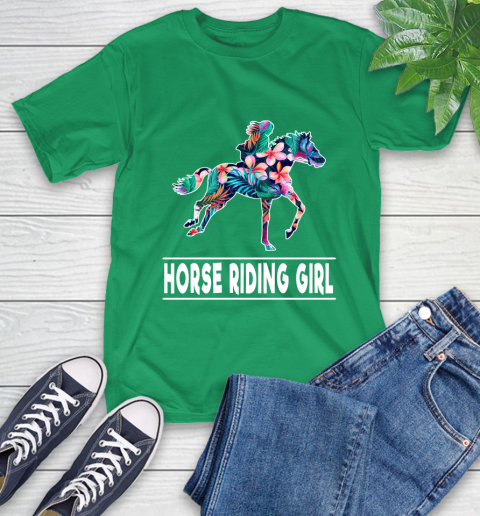 I'm A Horse Riding Girl Love Flowers And Never Give Up T-Shirt 19