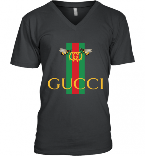 Gucci Bee Shirt Logo 2019 V-Neck T-Shirt