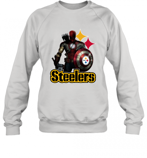 NFL Captain America Thor Spider Man Hawkeye Avengers Endgame Football Pittsburgh Steelers Sweatshirt
