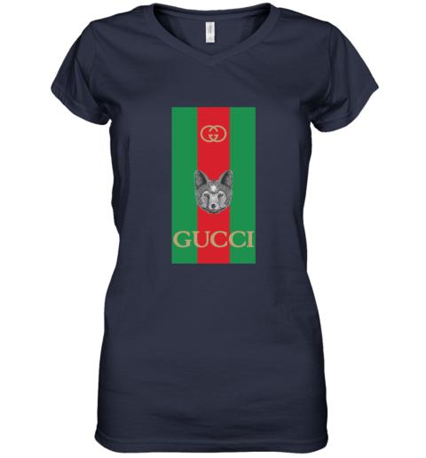 Gucci Logo Wolf Women's V-Neck T-Shirt