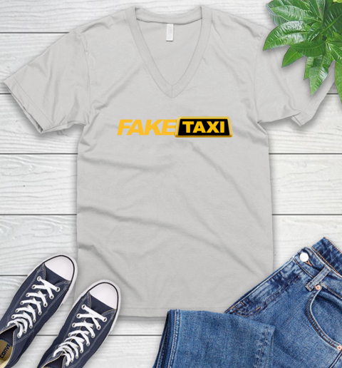 Fake taxi V-Neck T-Shirt 1