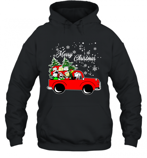 Merry Christmas Snoopy Driving  Tree Truck Ugly Hoodie
